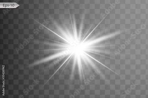 Obraz glowing lights effects isolated on gray background. Sun flash with rays and spotlight. Glow light effect. Star burst with sparkles. - fototapety do salonu