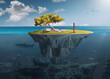 Leinwandbild Motiv Desolate island with lone girl as freedom concept