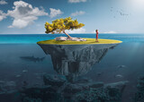 Desolate island with lone girl as freedom concept
