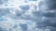 Beautiful cloudy day in spring. Timelapse 4k video footage of flying fast white clouds isolated in clear blue sunny sky background.