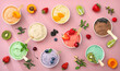 canvas print picture - Various colorful ice cream sorts with fruits in paper cups
