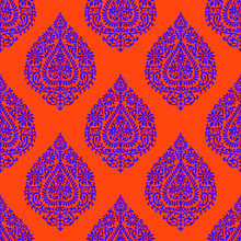 Abstract Geometrical Damask Pattern With Orange Background.