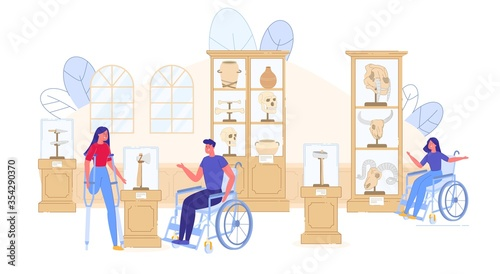 Disable People Visit History Museum Excursion Wallpaper Mural