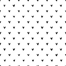 Hand Drawn Heart Seamless Pattern. Doodle Hipster Simple Background About Love For Valentines Day. Trendy Simple Texture With Tiny Little Hearts. Perfect For Wrapping, Fabric, Wallpaper.