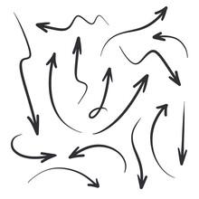 Black Arrows. Hand Drawn Arrows. Vector Arrows Set. Hand Drawn Arrows Set. Vector Illustration. Color Easy To Edit. Transparent Background. Hand Drawn Arrow.