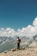 lone man in the mountains, enjoying the view