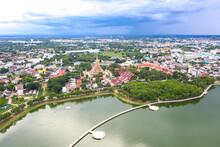 Aerial View Eastern Khon Kaen Cityscape With Phra Mahathat Kaen Nakhon, Wat Nong Wang In Thailand.
