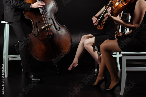 Fototapeta cropped view of professional musicians playing on violins and contrabass on dark