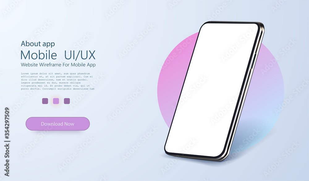 Fototapeta Smartphone frame less blank screen, rotated position. 3d isometric illustration cell phone. Smartphone perspective view. Template for infographics or presentation UI design interface. vector