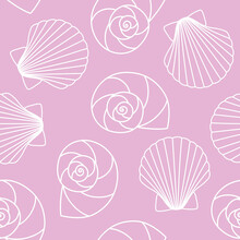 White Different Types Of Seashells Nautilus Pompilius, Oyster Spiral On Pink Background Sea Ocean Shell Pattern Seamless Vector