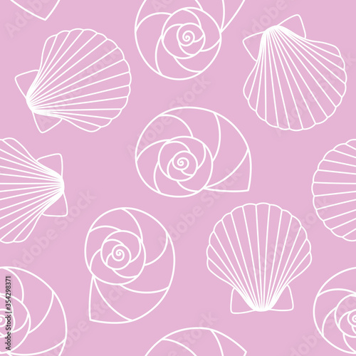 white different types of seashells nautilus pompilius, oyster spiral on pink bac Canvas-taulu