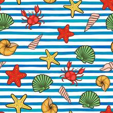 Summer Seamless Pattern Seashe...