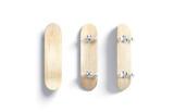 Blank wood skateboard mockup, front and back side