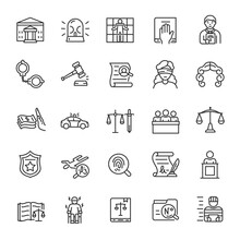 Law, Court, Adjudication, Icon Set. Legal Disputes,law Enforcement And Punishment, Linear Icons. Line With Editable Stroke