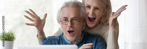 Valokuva Horizontal photo 60s old couple happy husband overjoyed wife looking at laptop screen feel excited received fantastic news