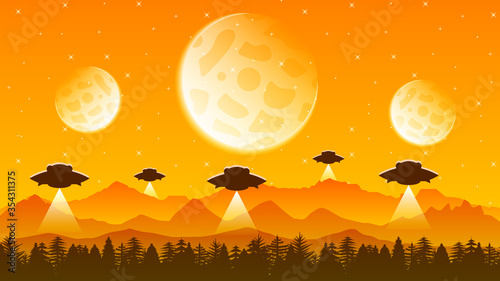 Платно Ufo Alien Invasion Orange Background Forest Tree Mountains Vector