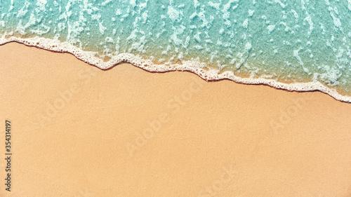 Fototapeta Soft wave lapped on empty sandy beach, Summer Background. copy space. obraz