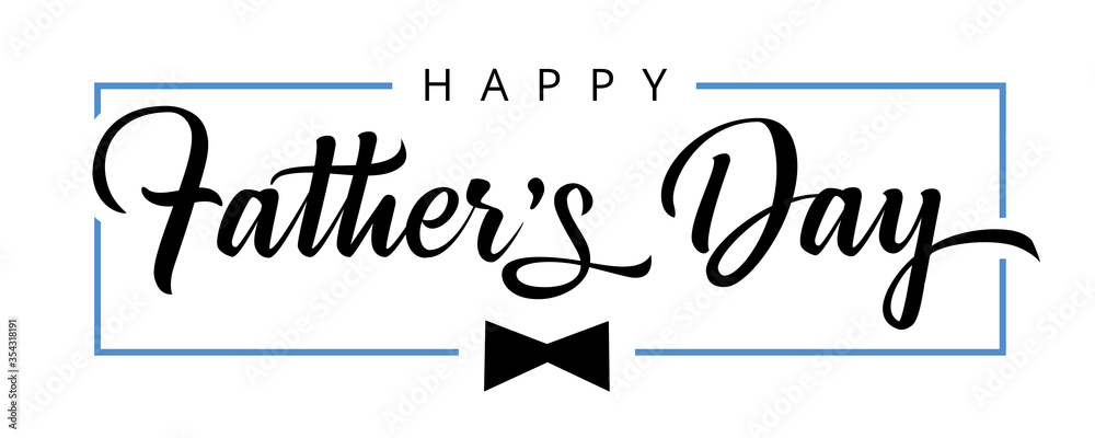 Fototapeta Happy Fathers Day calligraphy poster. Vector black bow tie and frame decoration for Father's day sale shopping, special offer banner. Best Dad in the world