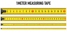 Yellow Measure Ruler Meter Vector Tape Metric Centimeter Illustration On White Background. One Long Straight Line 100 Cm Size Tool. Stock Construction Instrument Rule Millimeter Distance