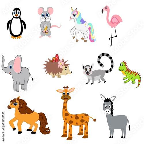 Cute animals set illustration,  vector collection: farm animals,sea animals wild animals,  #354318555