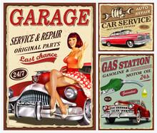 Set Of Vintage Car Metal Signs,Garage, Filling Station Retro Poster.