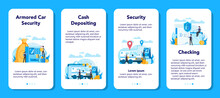 Armored Cash Truck Security Mobile Application Banner Set. Money
