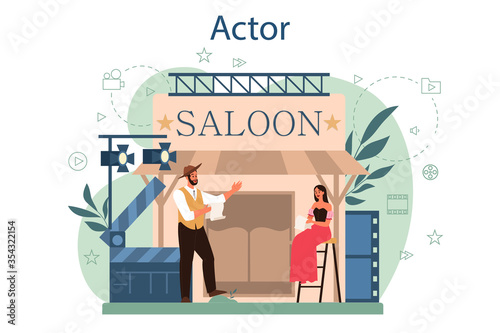 Fototapeta Actor and actress concept. Idea of creative people and profession. obraz