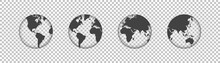 Set Of Globes Or Earth Transpa...