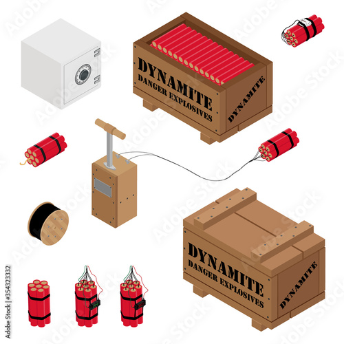 Tela Blasting Machine or detonator box, safe, dynamite sticks and black wire electric cable reel isolated on white background isometric view vector set