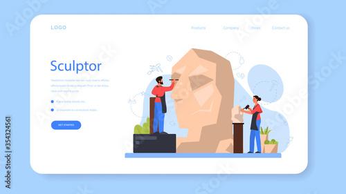 Fototapeta Professional sculptor web banner or landing page. Creating sculpture obraz