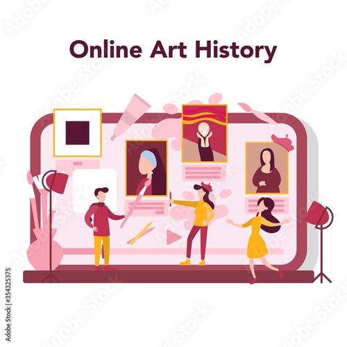 Fototapeta Art online education concept. Male and female artist standing in front obraz