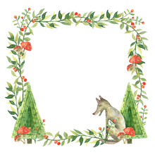 Watercolor Frame With Forest Trees. Illustration Of Wolf, Leaves, Twigs, Amanita And Berries.