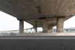 Freeway horizontal pavement under overpass