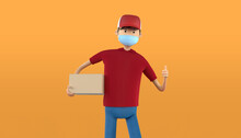 3D Rendering Of Delivery Guy With Medical Mask And Parcel Box. Red Uniform Deliveryman Thumb Up Deliver Express Shipment. Shipping Service During Quarantine Pandemic Coronavirus Virus 2019-ncov