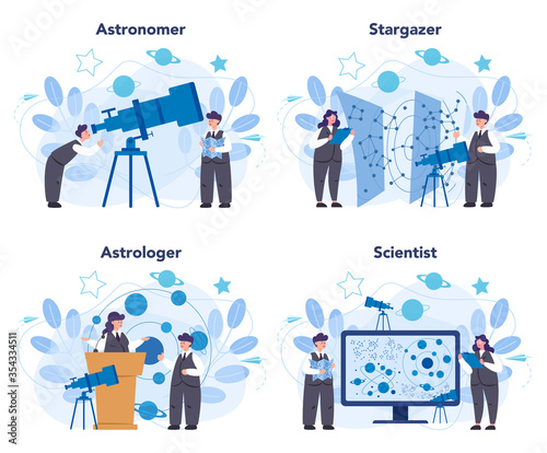 Astronomy and astronomer concept set Canvas Print
