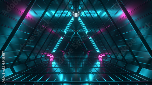 Photo Abstract endless flight in a futuristic geometric metal corridor made of triangles