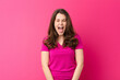 canvas print picture - young pretty woman shouting aggressively, looking very angry, frustrated, outraged or annoyed, screaming no against pink wall