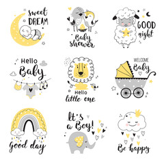 Baby Shower card design with cute elephant, little lion and lamb. Nursery prints for invitations, greeting cards, kids and baby t-shirts and wear. Hand drawn vector illustration.