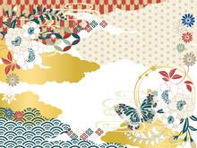 和柄背景素材レトロポップ日本シンプルフラット