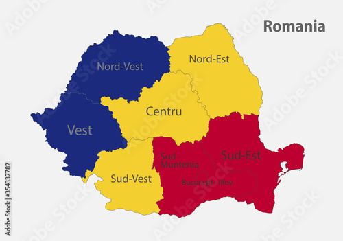 Fototapeta Map of the Romania in the colors of the flag with administrative divisions vector obraz