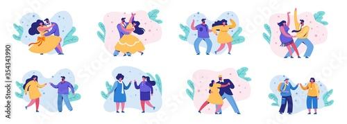 Dancing romantic people set Canvas Print