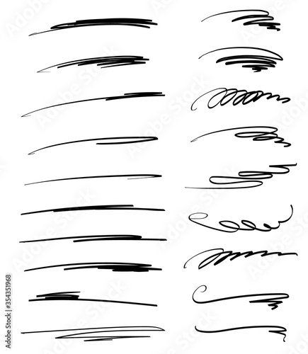 Fototapeta Set of handmade lines, brush lines, underlines. Hand-drawn collection of doodle style various shapes. obraz na płótnie
