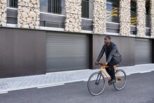 Man With Bike In Barcelona