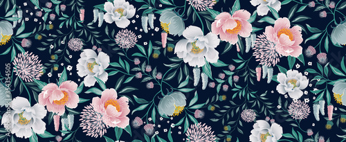 Vector illustration of seamless floral pattern in spring for Wedding, anniversary, birthday and party. Design for banner, poster, card, invitation and scrapbook