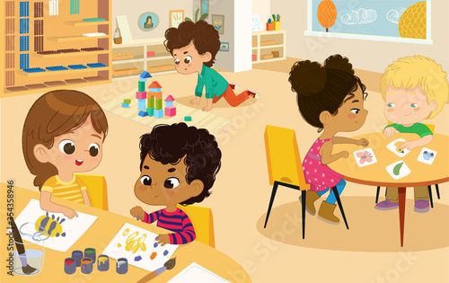 Fototapeta Preschool Class. Vector illustrations of kindergarten children in the playroom, boys and girls involved in various activities and make Fun. Multicultural Kids Draw, Play with Wooden Cubes and Blocs  obraz