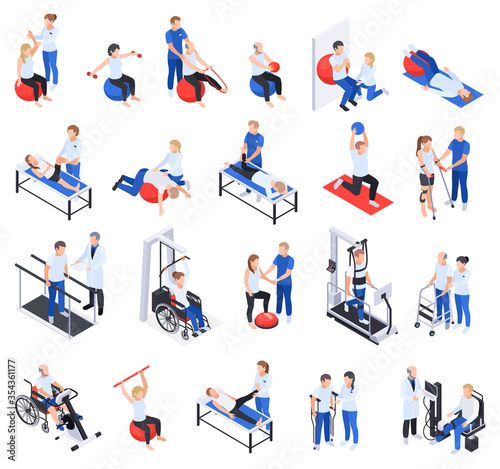 Obraz Physiotherapy Rehabilitation Isometric Set - fototapety do salonu