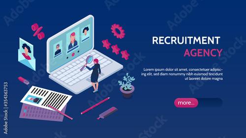 Obraz Recruitment Agency Isometric Banner - fototapety do salonu