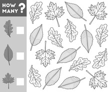 Counting Game For Children. Educational A Mathematical Game. Count How Many Leaves And Write The Result!