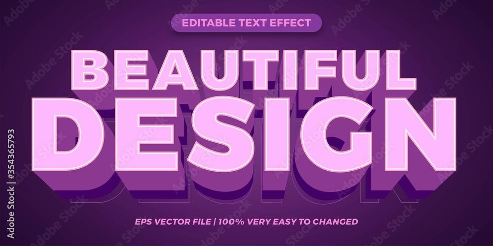 Fototapeta Beautiful design Editable text effect style 3d concept