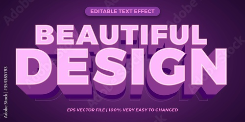 Beautiful design Editable text effect style 3d concept